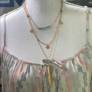 Jewelry - JUST IN- 3 layer feather necklace